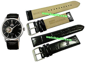ORIENT 22mm genuine leather for CDB08004B & etc Color: Black Code: QUDDYE-B