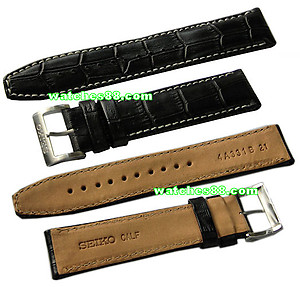 Seiko 21mm Genuine Calf Leather Strap for SRP009, SRP011, SRP013, SRP015, SRP017, etc. -Black Color
