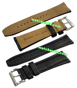 Seiko 24mm Genuine Calf Leather for SNKF05, SNKF07, SNKF09 & SNKF11 Color: Black Code: 4K29JB