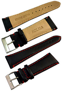 24mm Genuine Leather Strap Black Color Code: CH800BR24