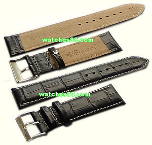 24mm Genuine Leather Strap Black Color Code: HGX8411BW24