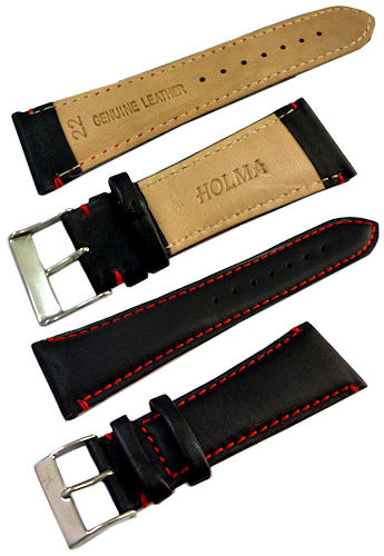22mm Genuine Leather Strap Black Color Code: CH800BR22