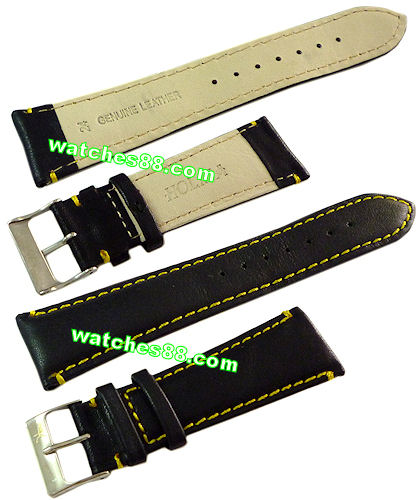 24mm Genuine Leather Strap Black Color Code: CH800BY24