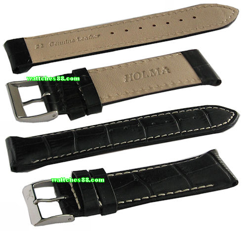 22mm Genuine Leather Strap – Black Color Code: CS1127BW