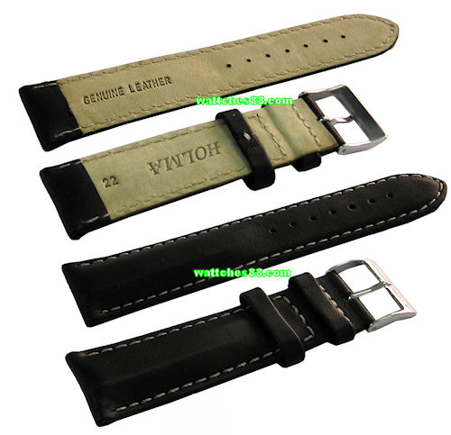 22mm Genuine Leather Strap - Black Color Code: CS1136-22
