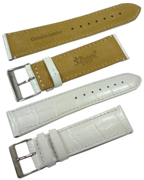 22mm Genuine Leather Strap Color: White Code: HGX8247W22