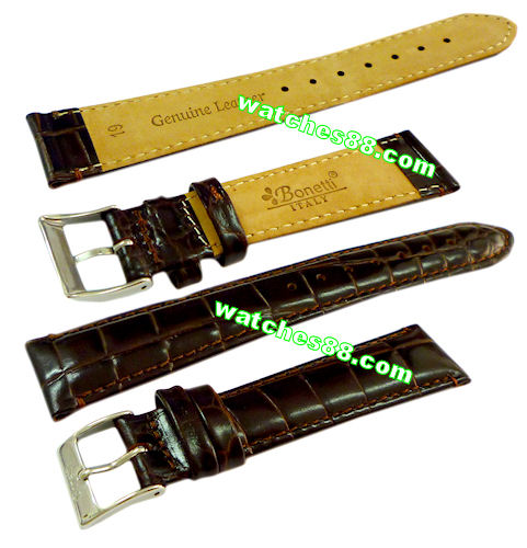 19mm Genuine Leather Strap Color: Brown Code: HGX8406-19
