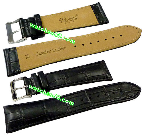 24mm Genuine Leather Strap - Color: Black Code: HGX8459-24mm