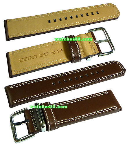 Seiko 24mm Genuine Calf Leather Strap for SNAB67, SNAB69, SNAB71, SNAB73, etc.- Color: Brown Code: 4LP6JB