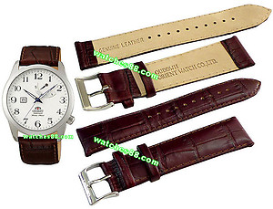ORIENT 22mm genuine leather for CFD0E002W, CFD0E004W & etc Color: Brown Code: QUDDWH