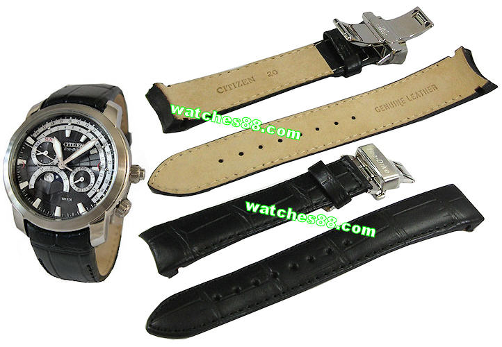 Citizen 20mm Genuine Leather Strap for AP1001 moon phase. Code: 59-S50785