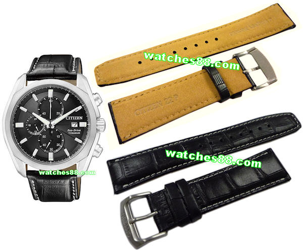 CITIZEN 22MM Original Genuine Leather Strap for CA0021 Color : Black