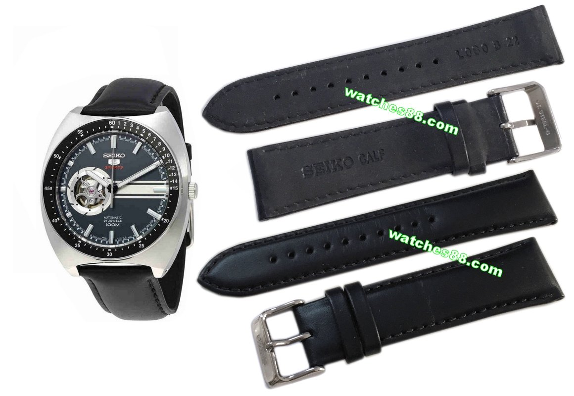 SEIKO 22mm Genuine CALF Leather Strap for SSA335K1 Code: L0B0017J0 Color: Black
