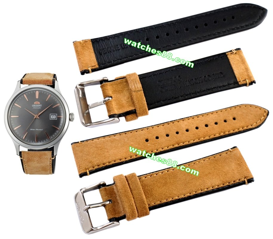 ORIENT 22mm genuine leather for AC08003A Color: Brown Code: QUDFGG