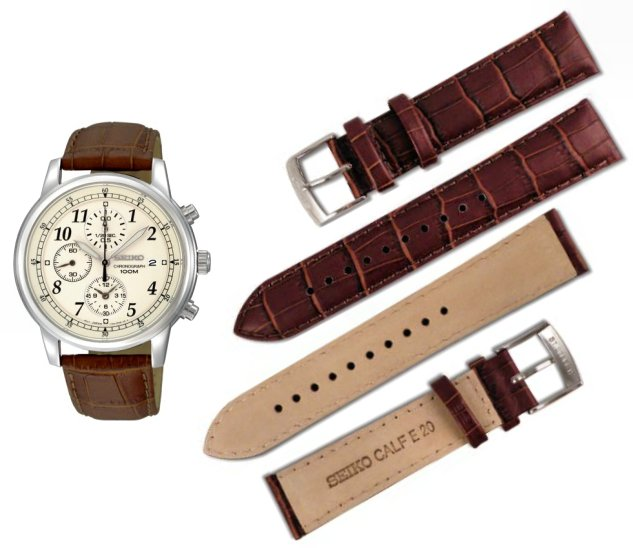 Seiko 20mm Genuine Calf Leather Strap for  SNDC31, SSB413 Code: 4LR2JE Color: Brown