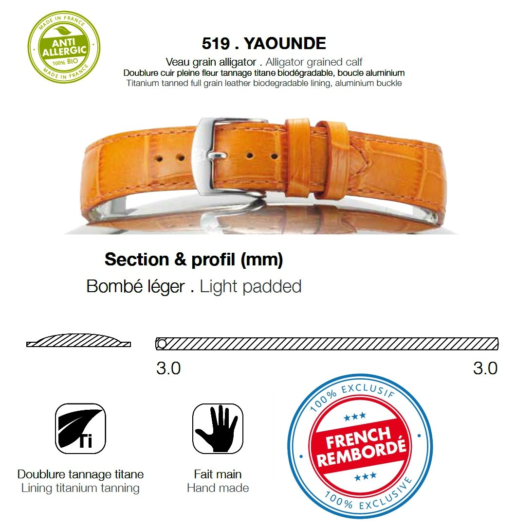 Rochet ( ZRC )  519-18mm YAOUNDE Alligator grained calf Extra Short Leather Strap Color:Black